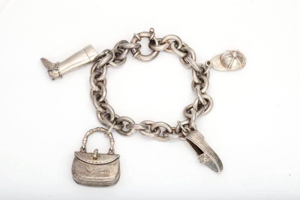 Vintage Gucci Silver Charm Bracelet At 1stdibs