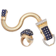 Gold Cabochon Sapphire Diamond Watch & Ring Set
