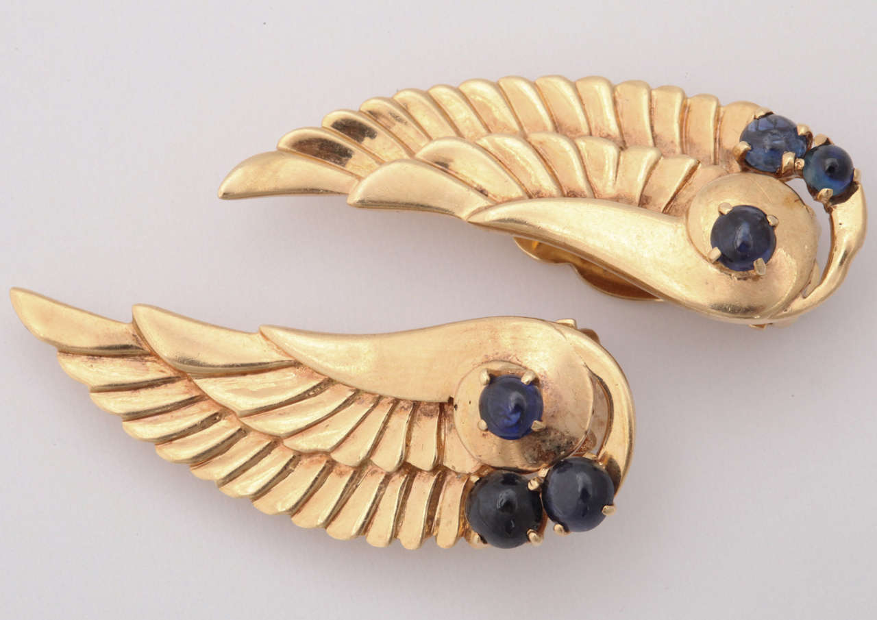 14k Chased gold 16.5 gram wings applied with 6 cabochon sapphires 1.50 carats