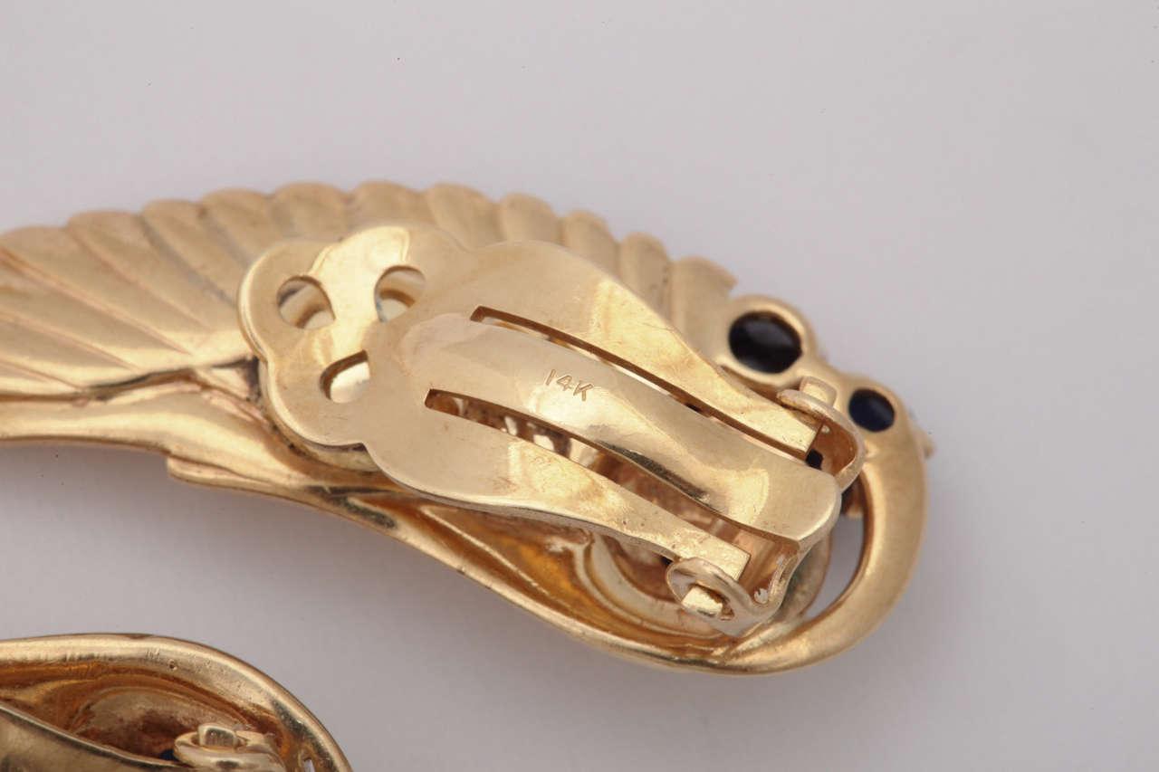 Women's Retro Sapphire Gold Angel Wing Earrings For Sale