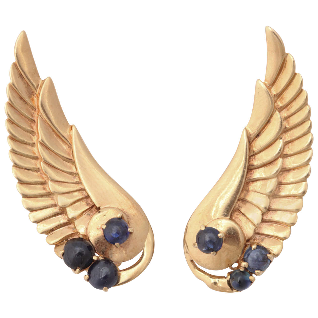 Retro Sapphire Gold Angel Wing Earrings For Sale