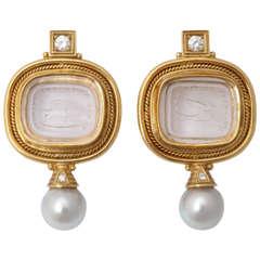 Elizabeth Gage Rock Crystal Crest Earrings