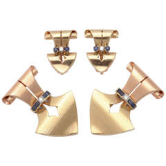 Sapphire Diamond Gold Dress Clips and Earrings