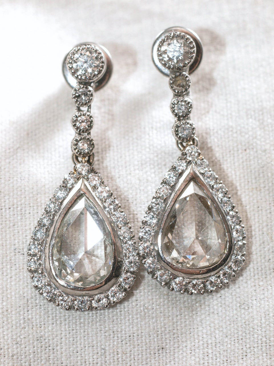Beautiful Pair of 2.5 carat Rose Cut Diamond Earrings each surrounded by single row of 20 Mine Cut Diamonds and .30 diamond posts TCW-3.5