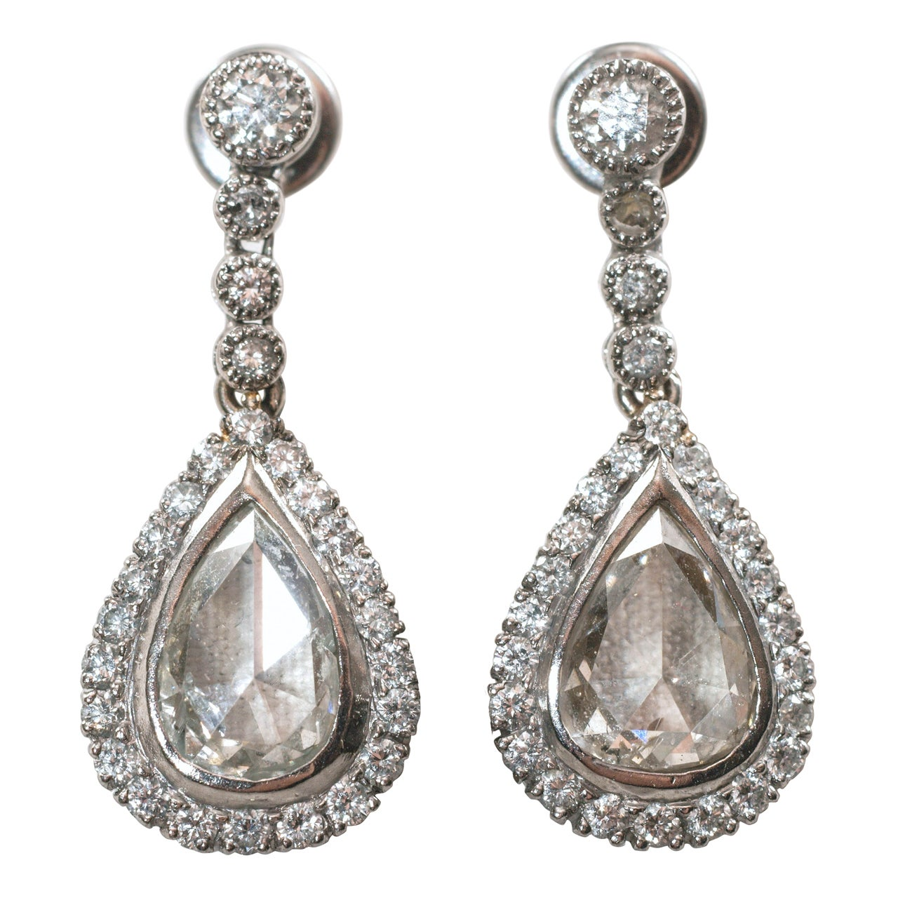 Antique Rose Cut Diamond Earrings For