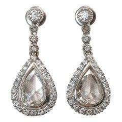 Antique Rose Cut Diamond Earrings