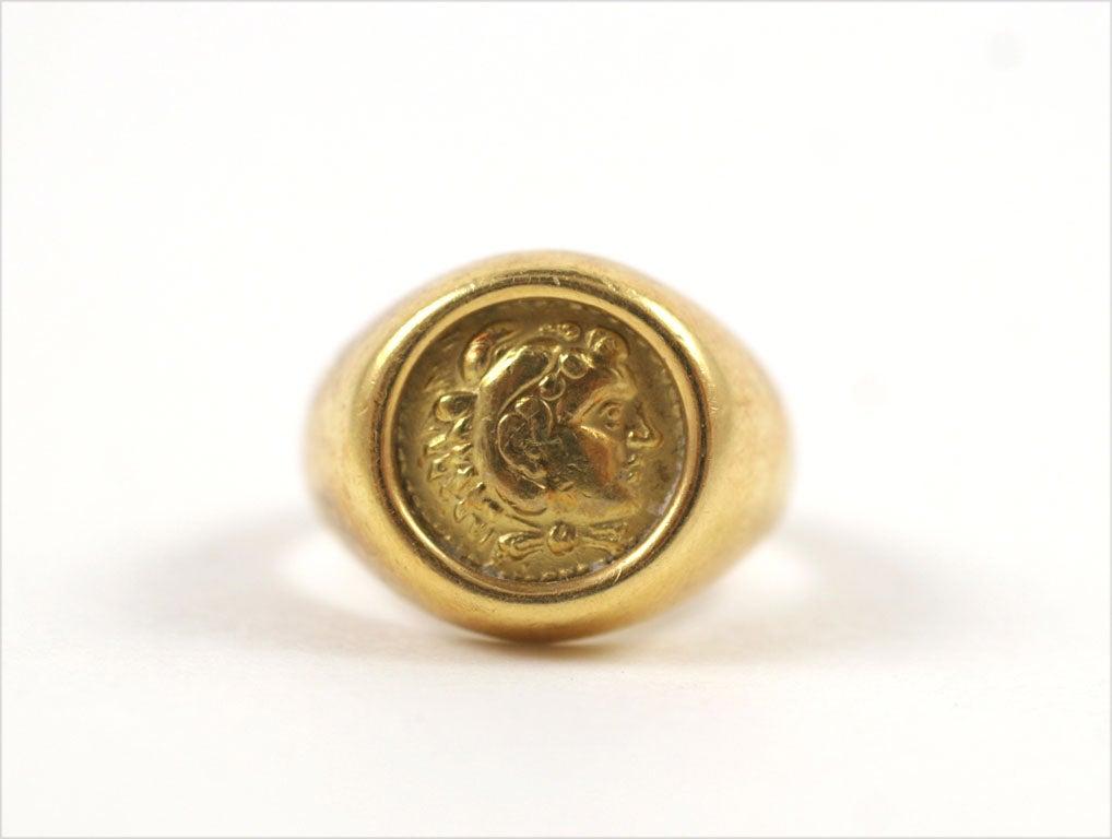 18K Gold Greek Signet Ring 1