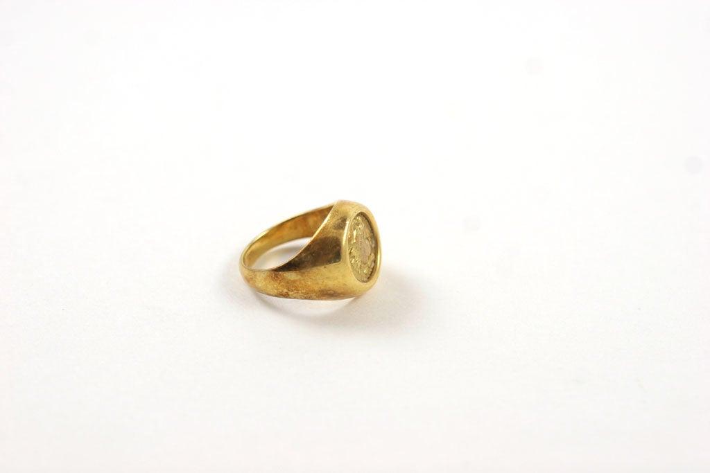 18K Gold Greek Signet Ring 5