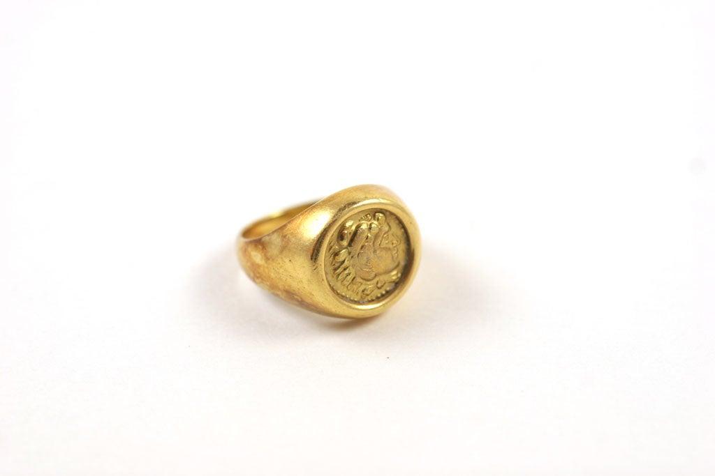 18K Gold Greek Signet Ring 6