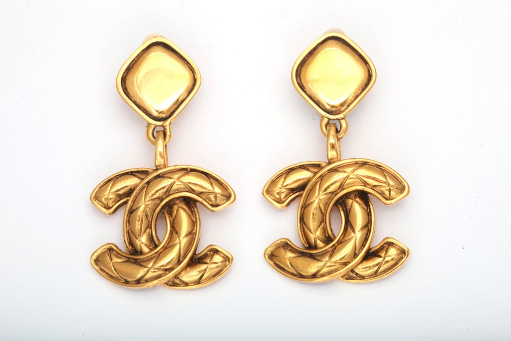 Chanel Quilted CC Dangling Earrings 2