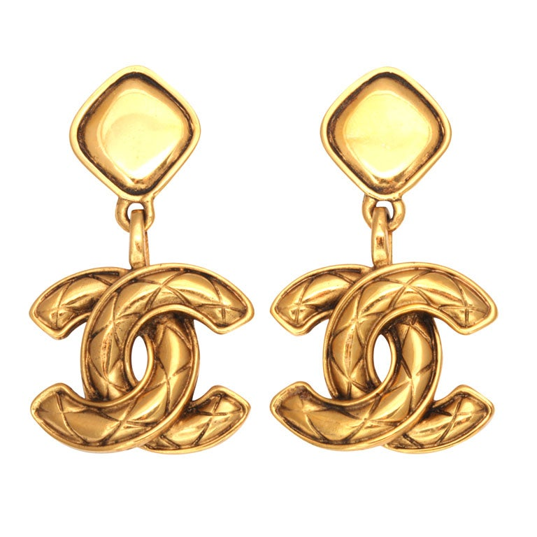 Chanel Quilted CC Dangling Earrings 1