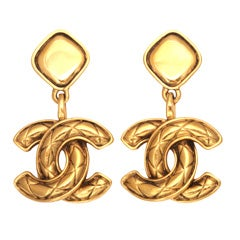 Chanel Quilted CC Dangling Earrings