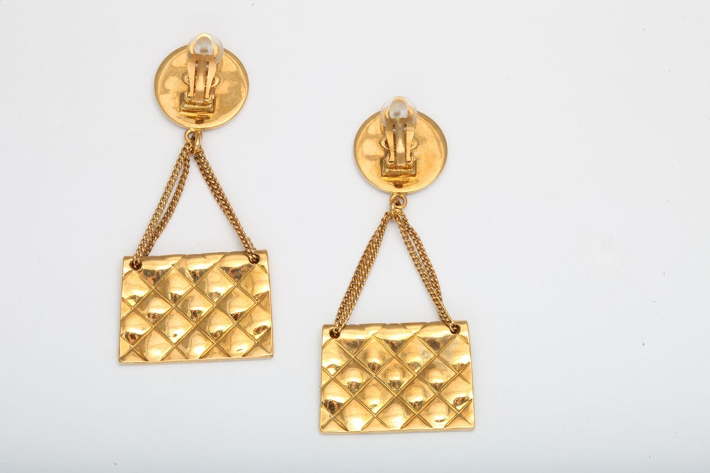 Chanel 2.55 quilted bag motif earrings 6