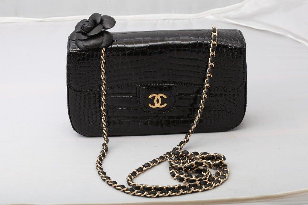 chanel mini crocodile bag with camelia at 1stdibs