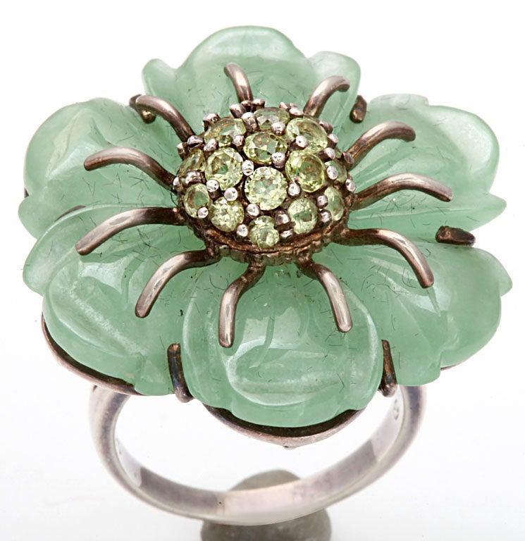 Sweet as Summer: Jade and Peridot Flower Ring 2