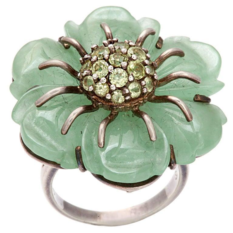 Sweet as Summer: Jade and Peridot Flower Ring 1