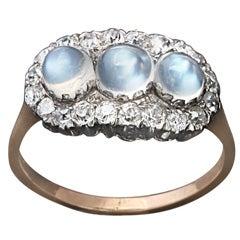 """Blue Moon"" Three Moonstone Edwardian Ring"