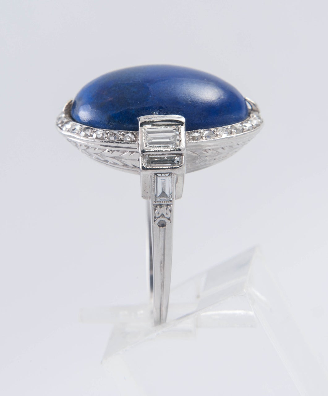 Art Deco Lapis Lazuli Diamond Ring 3