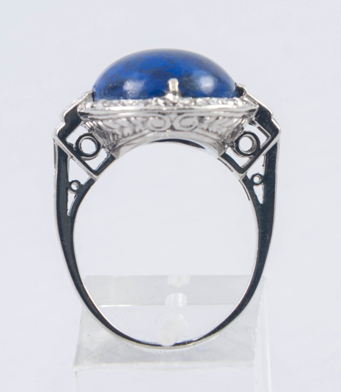 Art Deco Lapis Lazuli Diamond Ring For Sale 1