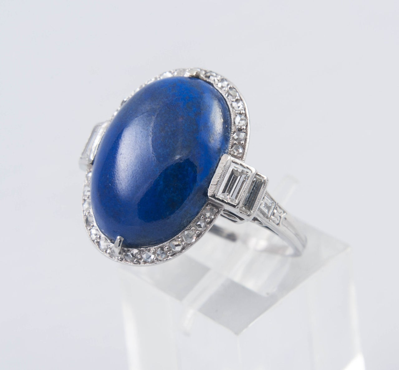 Art Deco Lapis Lazuli Diamond Ring For Sale 2