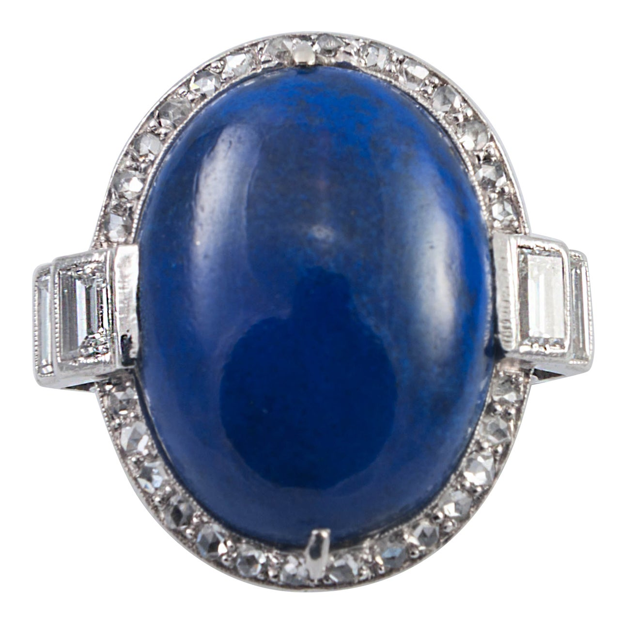 Art Deco Lapis Lazuli Diamond Ring For Sale
