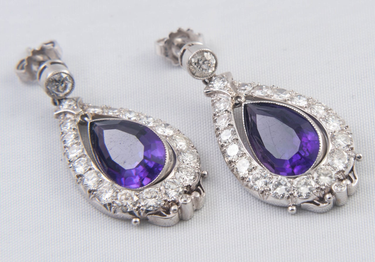Amethyst and Diamond Drop Earrings 2