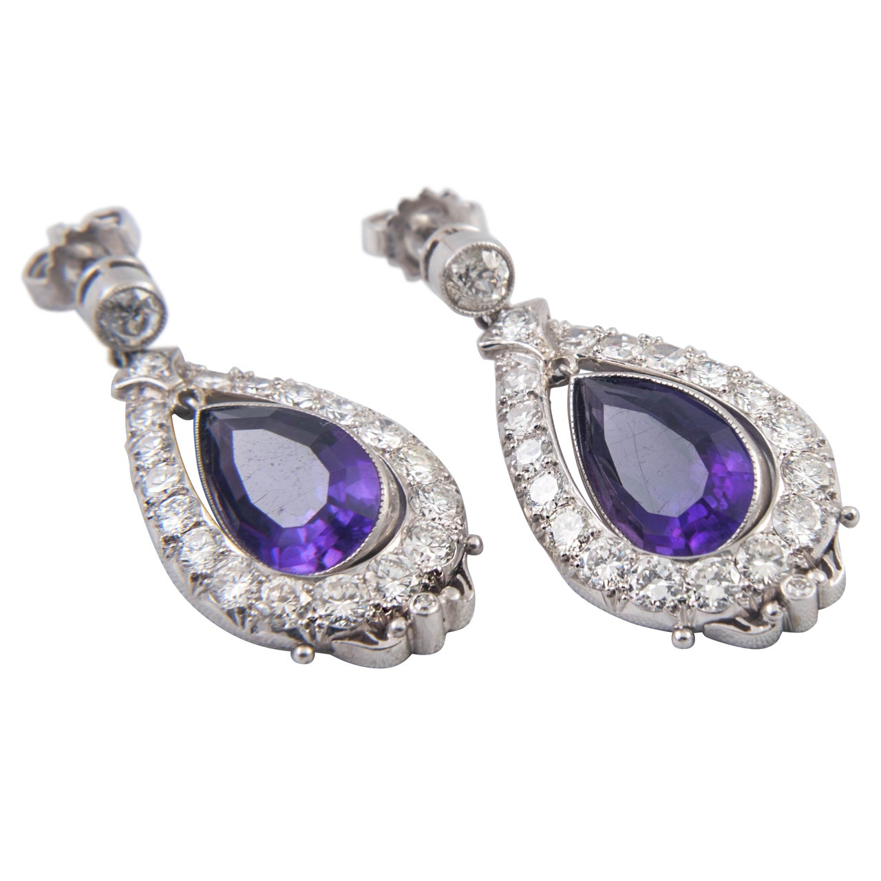 Amethyst and Diamond Drop Earrings 1