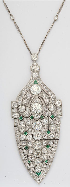 Magnificent Art Deco Emerald Diamond Platinum Lavaliere 2