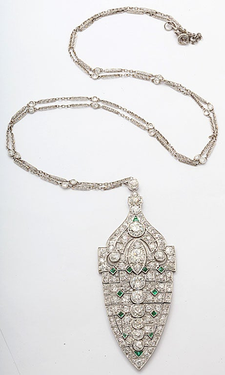Magnificent Art Deco Emerald Diamond Platinum Lavaliere 3