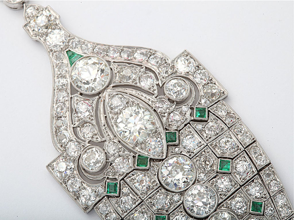 Magnificent Art Deco Emerald Diamond Platinum Lavaliere 5