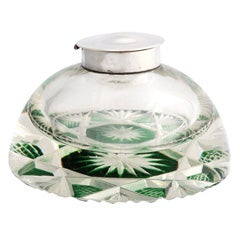 Unusual Sterling Silver-Mounted Cut Crystal Inkwell