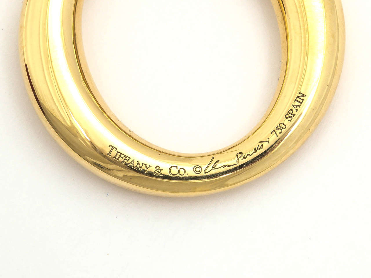 1990s elsa peretti for tiffany and co  large high polished gold hoop earrings at 1stdibs