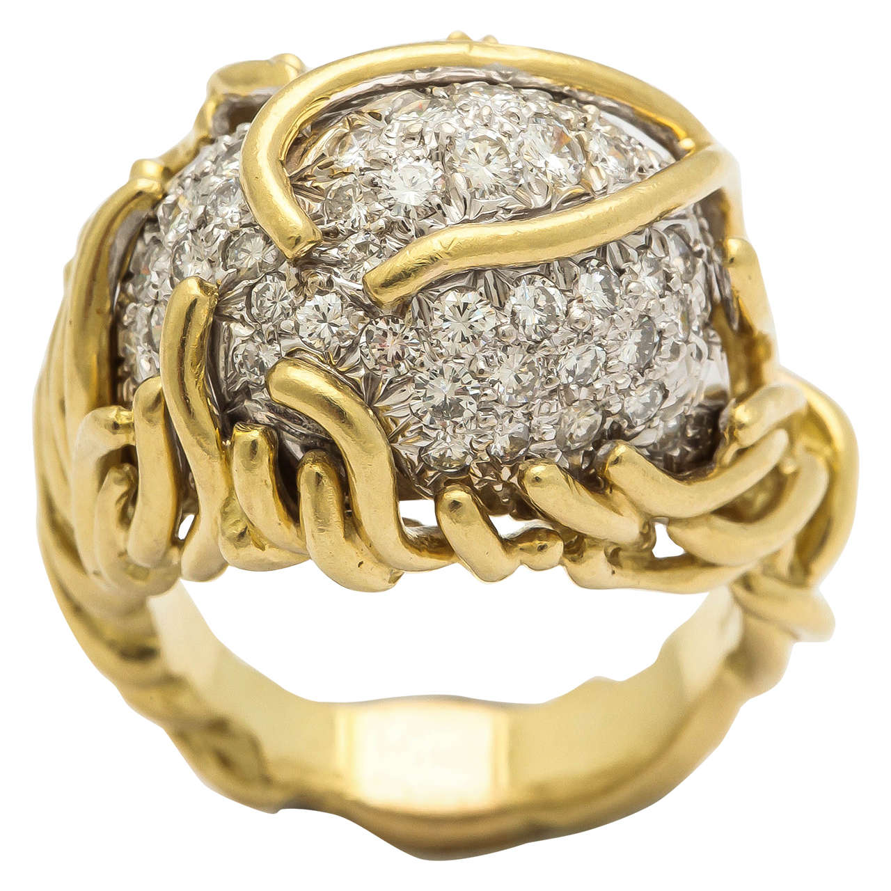 1960s Heavy Diamond Gold Dome Cocktail Ring at 1stdibs