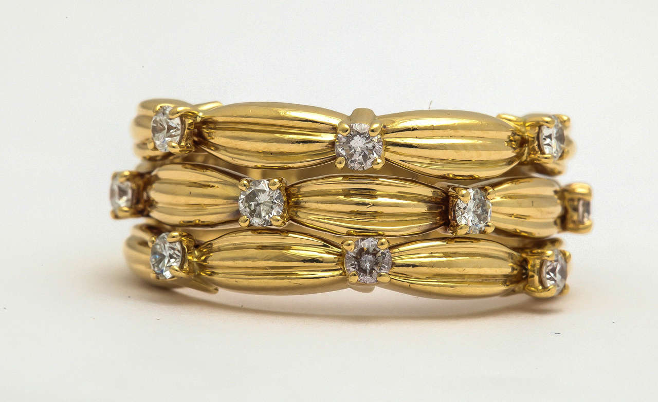 1990s Tiffany & Co. Diamond Textured Gold Three Row Band Ring 2