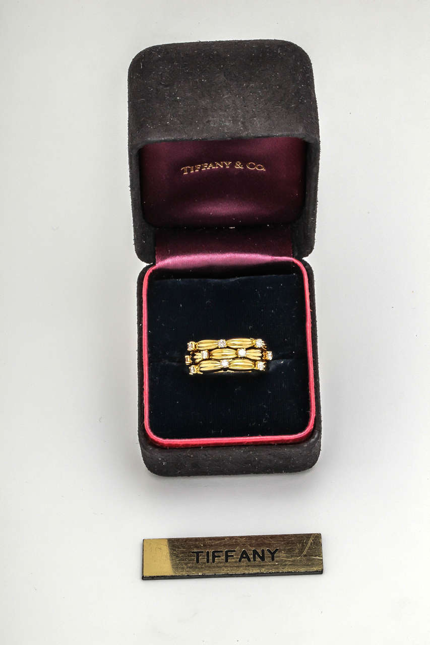 1990s Tiffany And Co Diamond Textured Gold Three Row Band
