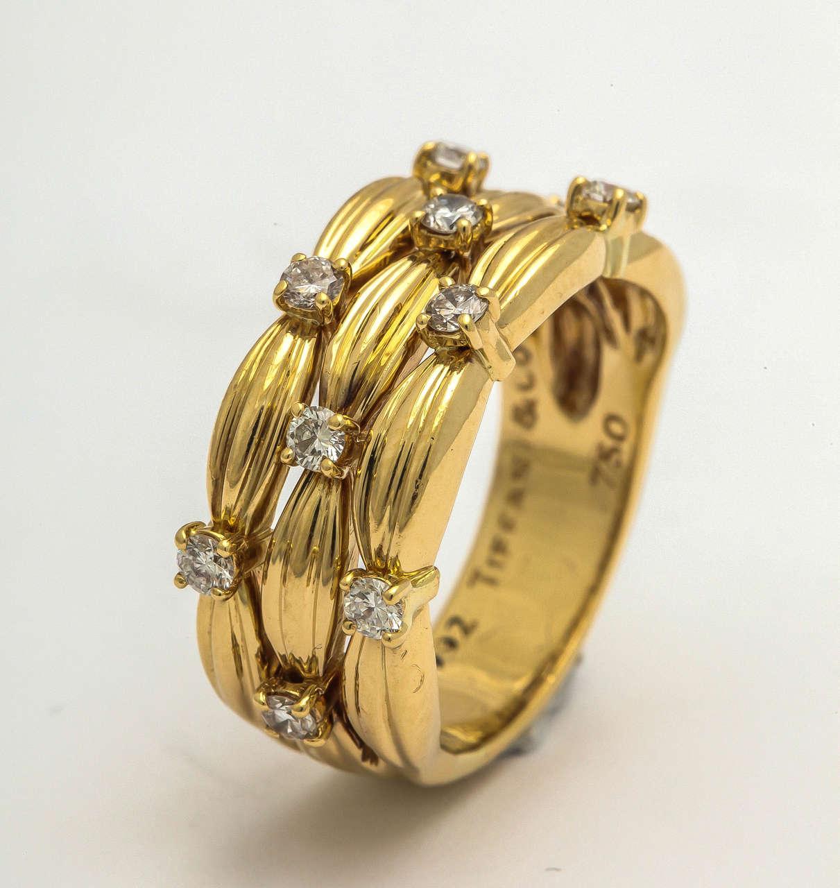 1990s Tiffany And Co Diamond Textured Gold Three Row Band