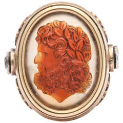 Large Gold and Carved Cameo Zeus Ring circa 1870