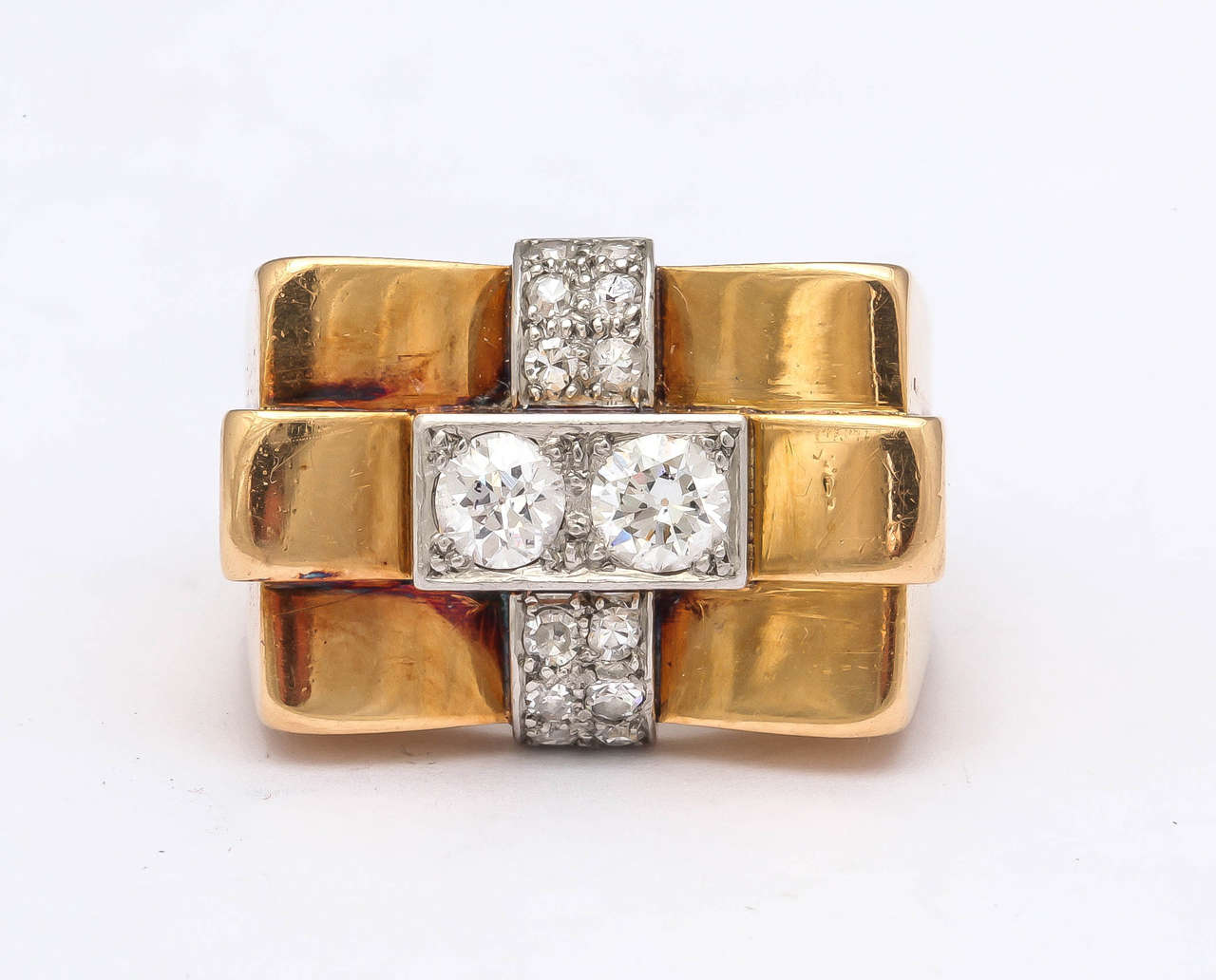 1940s French Diamond Gold Bridge Ring 3