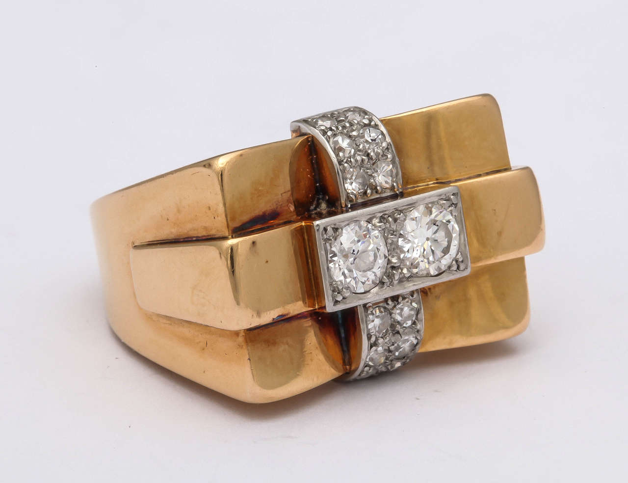 1940s French Diamond Gold Bridge Ring 4