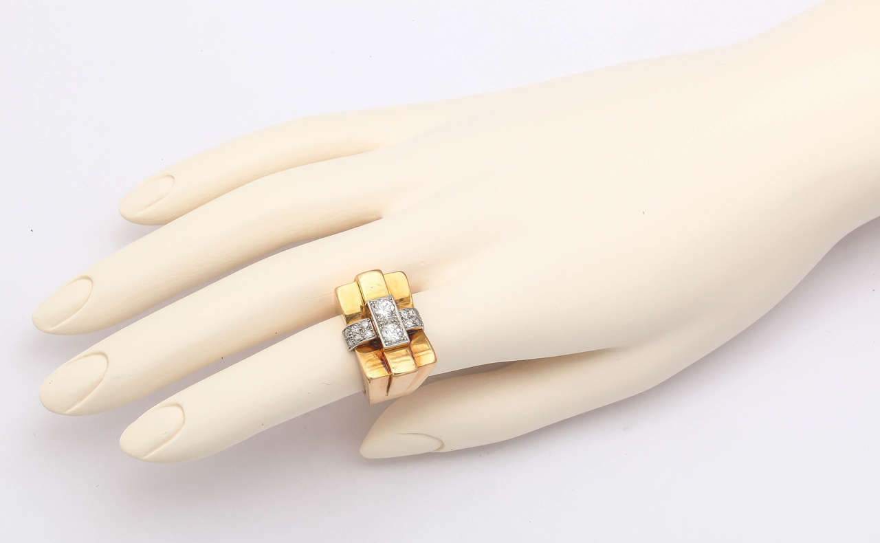 1940s French Diamond Gold Bridge Ring 8