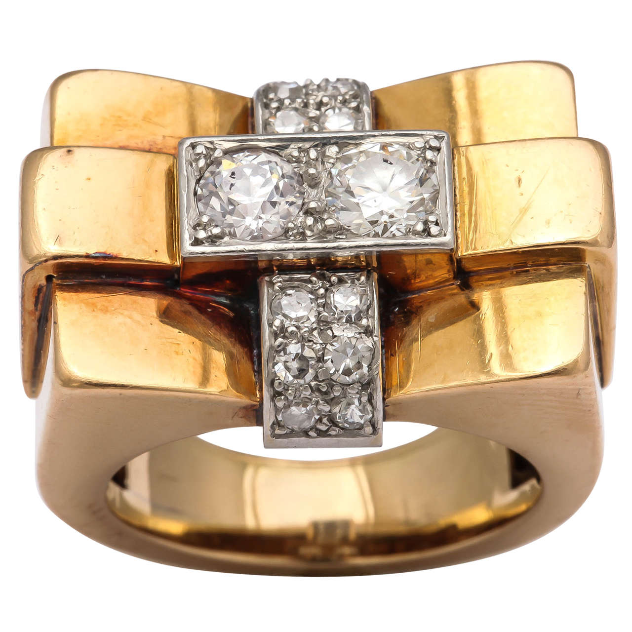 1940s French Diamond Gold Bridge Ring 2