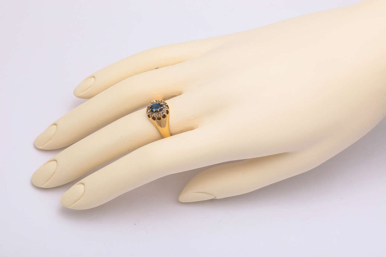 1917 Russian Revolution Sapphire Diamond Gold Cluster Ring 3
