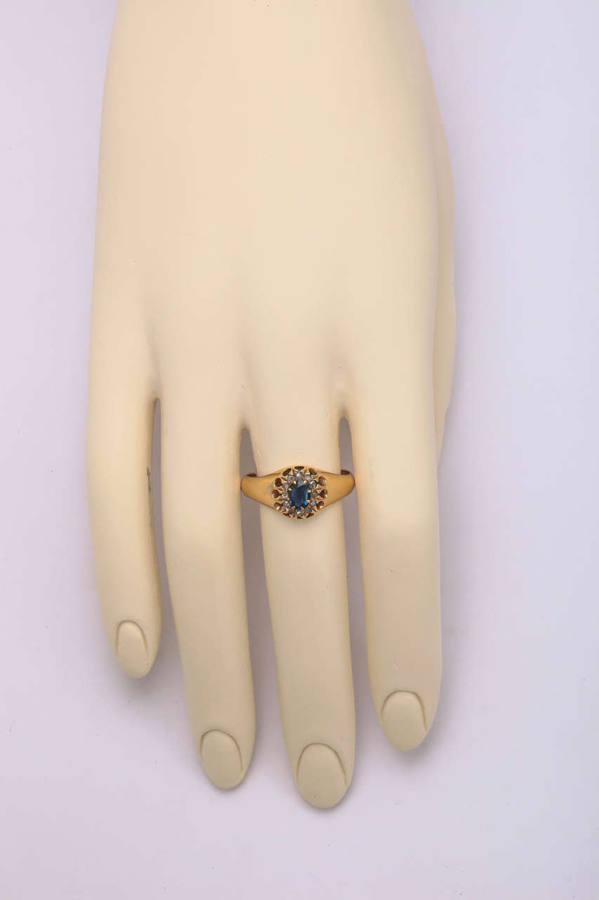 1917 Russian Revolution Sapphire Diamond Gold Cluster Ring 4