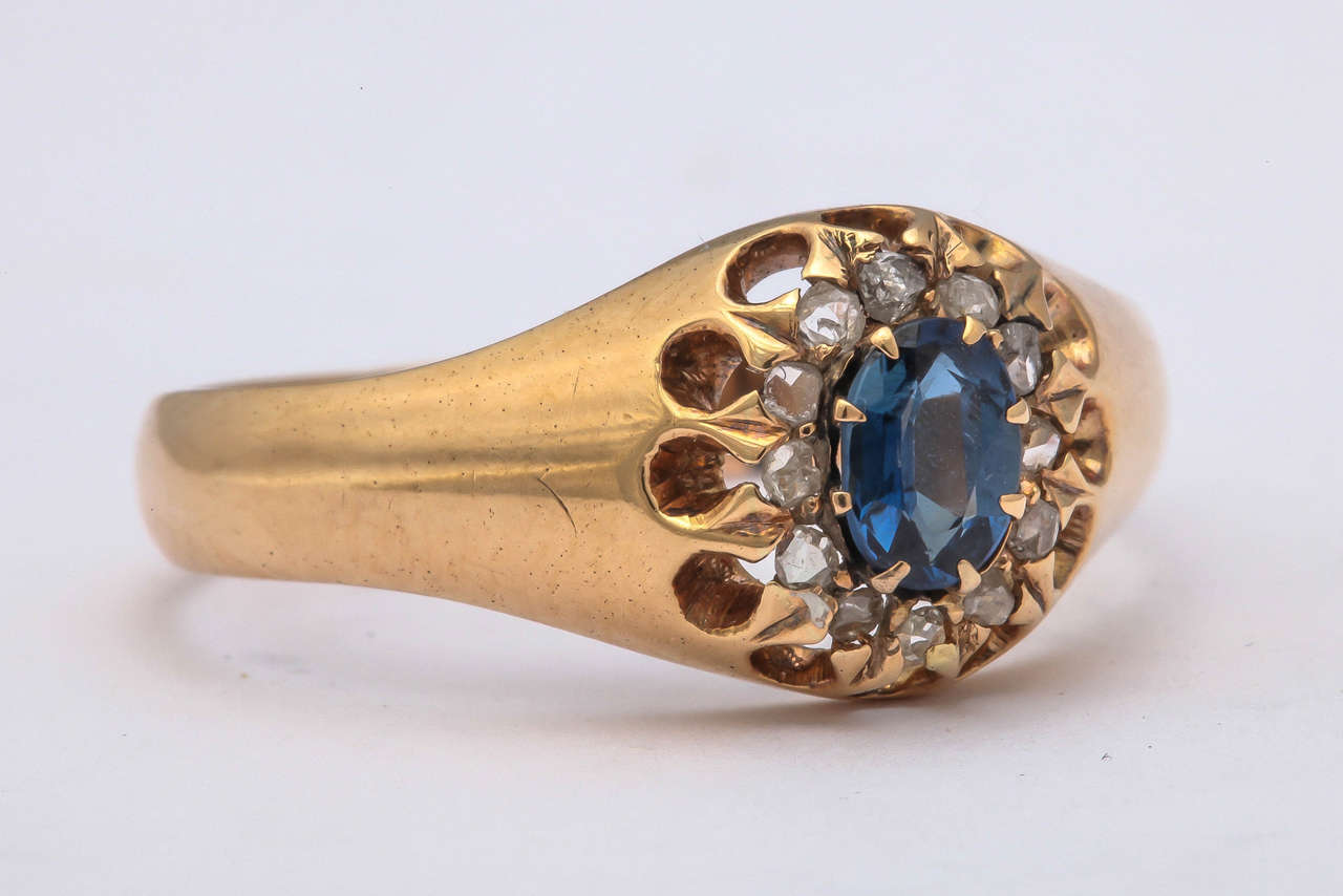1917 Russian Revolution Sapphire Diamond Gold Cluster Ring 5