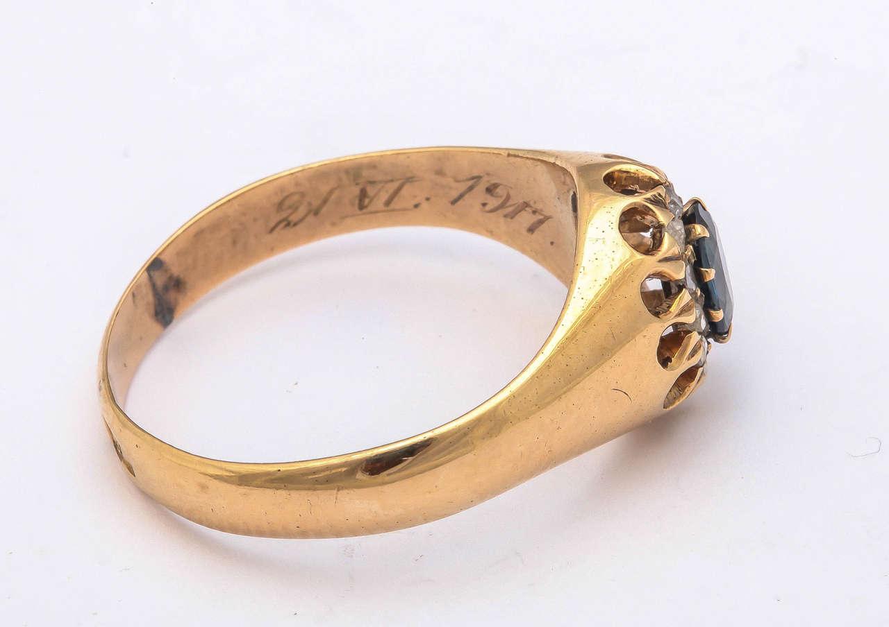 1917 Russian Revolution Sapphire Diamond Gold Cluster Ring 6