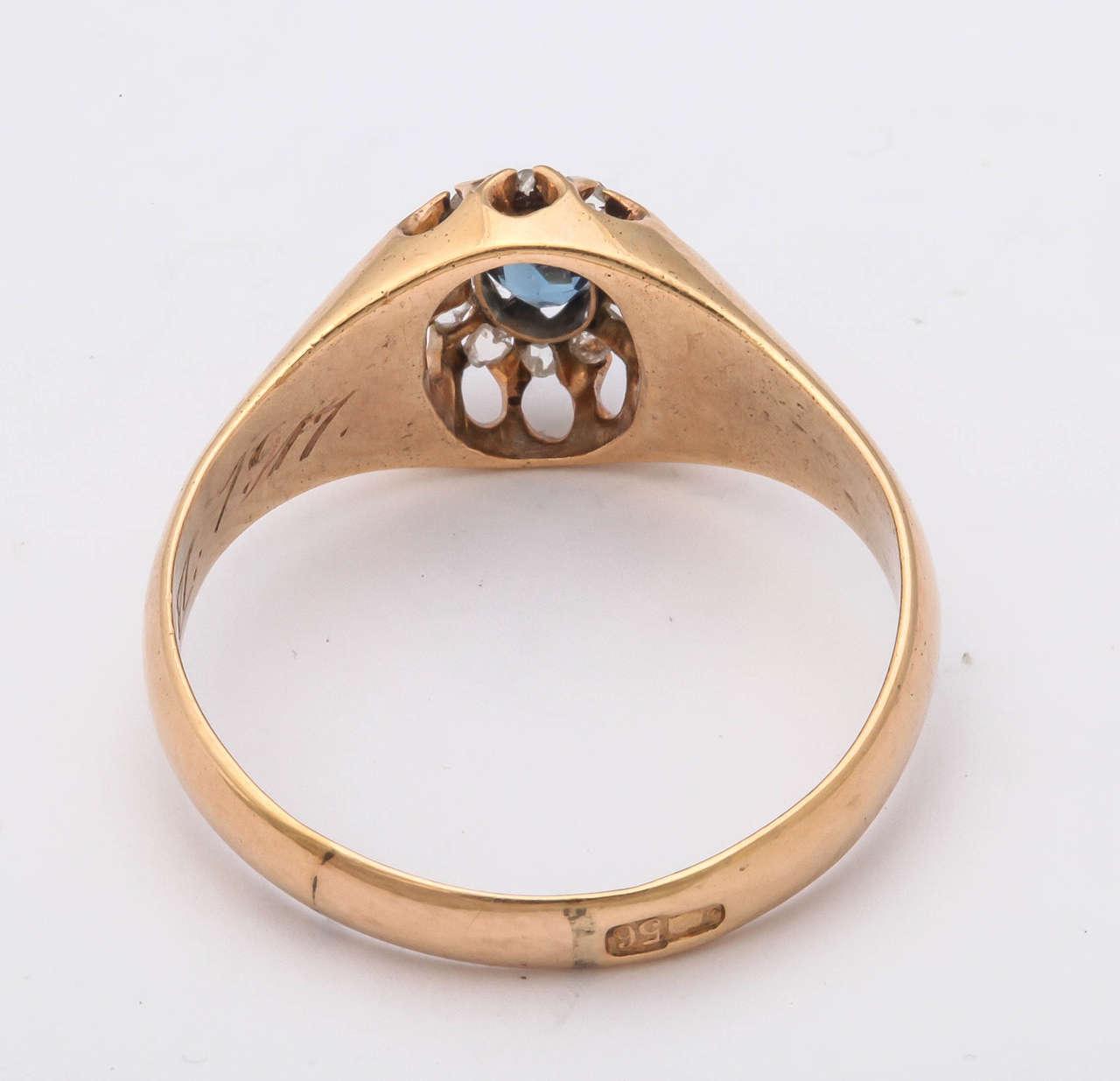 1917 Russian Revolution Sapphire Diamond Gold Cluster Ring 7