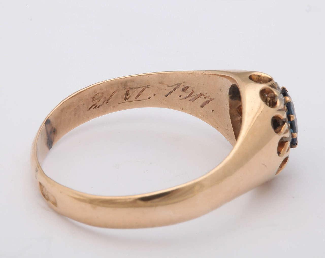 1917 Russian Revolution Sapphire Diamond Gold Cluster Ring 8
