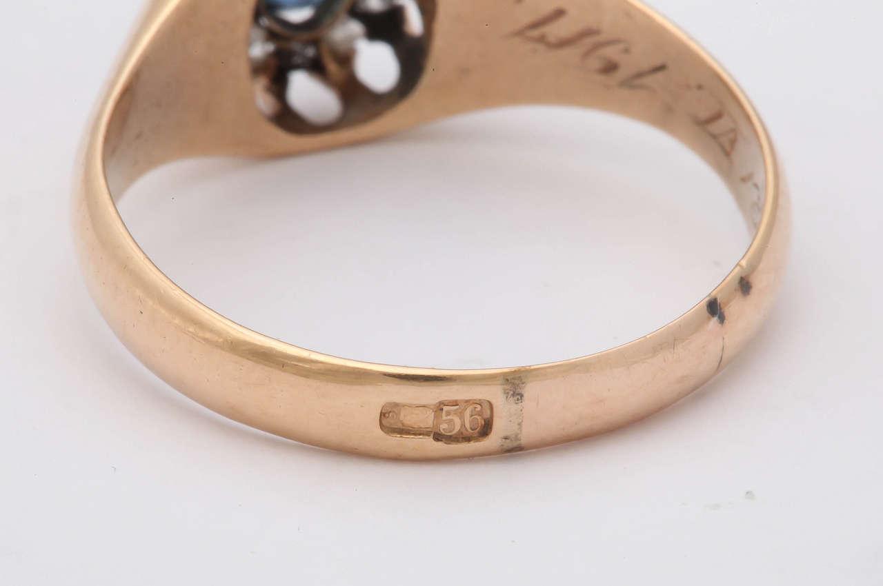 1917 Russian Revolution Sapphire Diamond Gold Cluster Ring 9