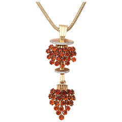 Magnificent Madeiria Topaz & Diamond Pendant on Snake Chain