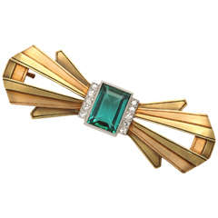 Mixed Metal Tourmaline & Diamond Bow Pin